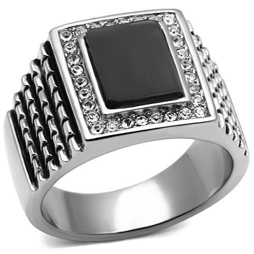 Black Synthetic stone stainless steel ring