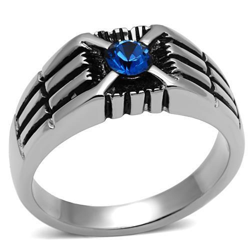 Men's Capri Blue Stone Stainless Steel Ring
