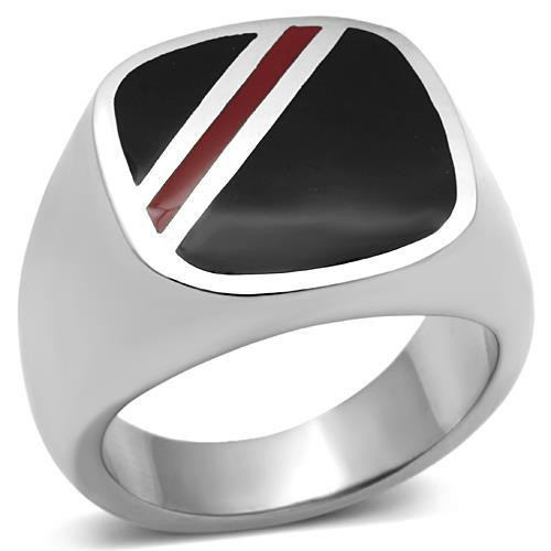 Men's Square Black and Red Enamel Ring in Stainless Steel