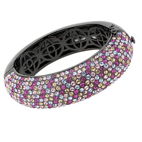 Cobalt Black Bangle Bracelet with Multi-Color Austrian Crystals