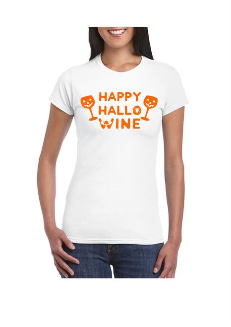Happy Hallo Wine Ladies Tee White