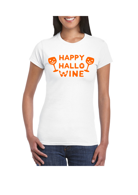Happy Hallo Wine Ladies Tee White