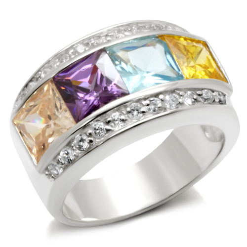 Multi-Color Princess Cut Cubic Zirconia Ring in Sterling Silver