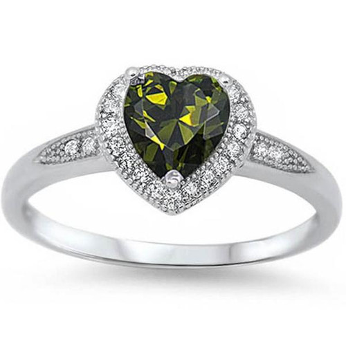 Peridot Cubic Zirconia Sterling Silver Ring
