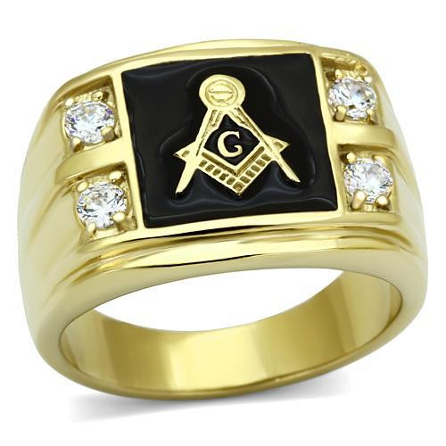14k Gold Plated Masonic Insignia Men's Ring in Stainless Steel