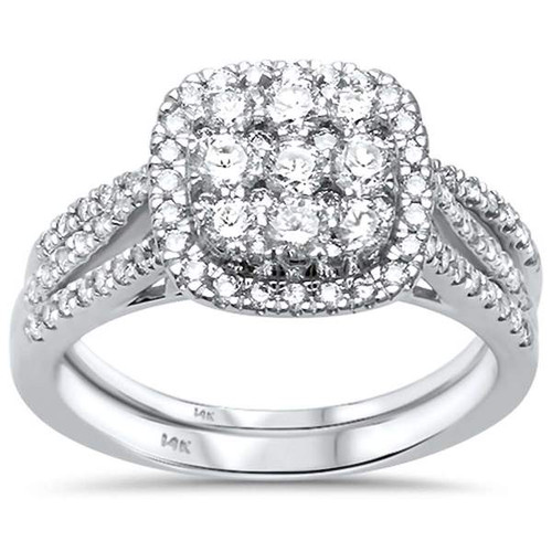 1ct. White Gold Princess Diamond Engagement Bridal Set Size 6.5