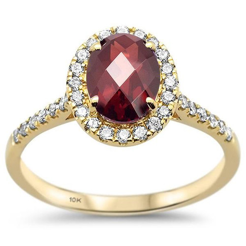 10k Yellow Gold Oval Garnet & Diamond Ring