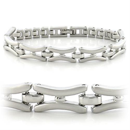 Rhodium Plated Link Bracelet
