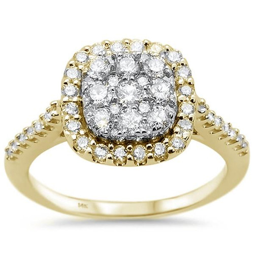 14k Yellow Gold Square Princess Diamond Engagement Ring