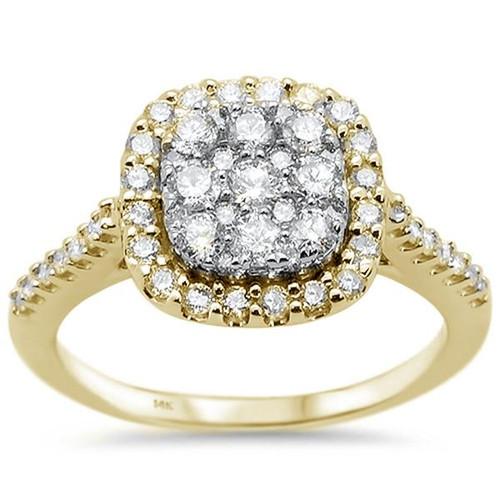 14k Yellow Gold Square Princess Diamond Engagement Ring