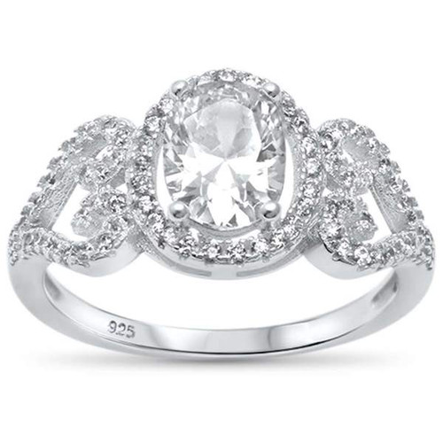 Contour Heart Style Oval Cubic Zirconia  .925 Sterling Silver Ring
