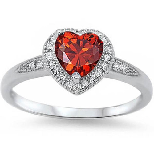 Halo Heart Cut Garnet Promise Ring