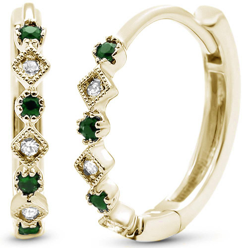 14k Gold Diamond & Emerald Hoop  Antique Earrings