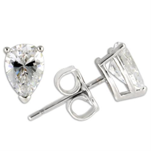 925 Sterling Silver Pear Shape Cubic Zirconia Stud Earrings