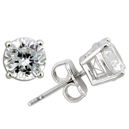 4 TCW Round Cubic Zirconia Stud Earrings