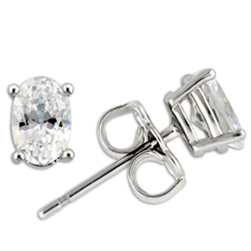 1 TCW Oval Cubic Zirconia Stud Earrings  Sterling Silver