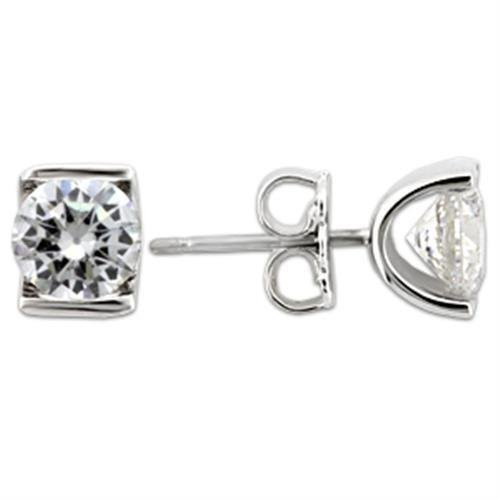 1.43 Ct.  Round Cubic Zirconia Stud Earrings in Rhodium over Sterling Silver