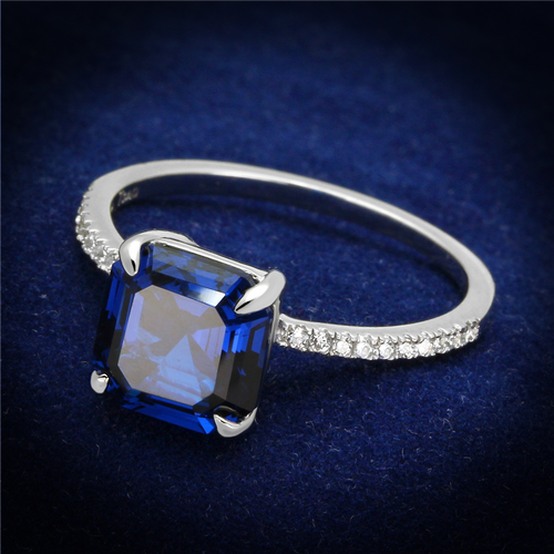 0.25 ct CZ and Blue Synthetic Spinel Cocktail Ring