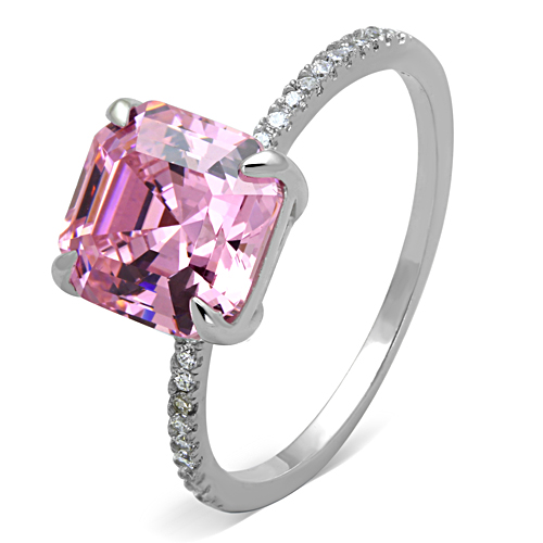 Princess-Cut 5 TCW  Pink Cubic Zirconia Engagement Ring