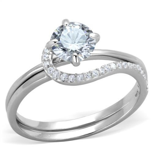 Round White Cubic Zirconia Bridal Engagement Ring Set In Sterling Silver