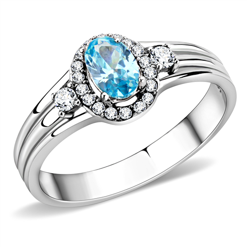 1.3 TCW Sea Blue CZ Halo Engagement Ring in Stainless Steel