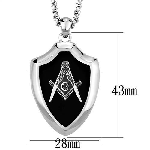 Masonic Square And Compasses Pendant Necklace in Stainless Steel