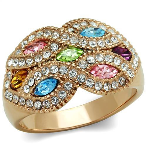 Multi-Colored Marquise-Cut Crystal Pave Cocktail Ring with  Swarovski Elements Rose Gold-Plated