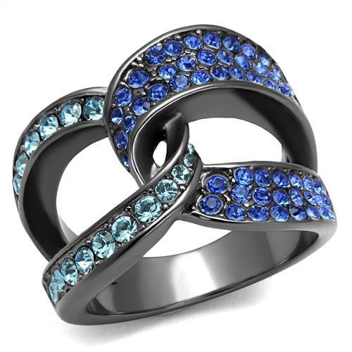 Shades Of Blue Crystal Knot Cocktail Ring Made With Swarovski Elements  Black Ion-Plated