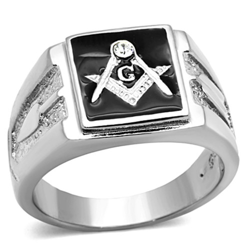 Men's Classic Silver Trowel and Level  Mason Ring with Swarovski Crystal