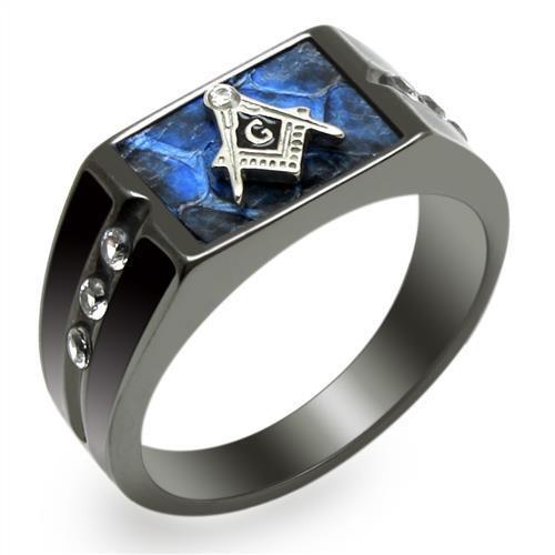Men's Blue Enamel and Cubic Zirconia Ruthenium Plated Masonic Ring