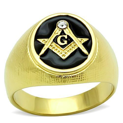 Men's Textured 14K Gold Plated Mason Ring with Swarovski Crystal