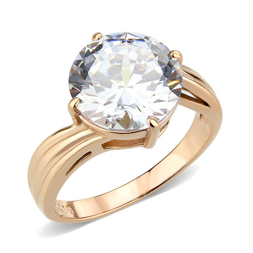 Round Cubic Zirconia Solitaire Ring In Rose Gold Over Stainless Steel