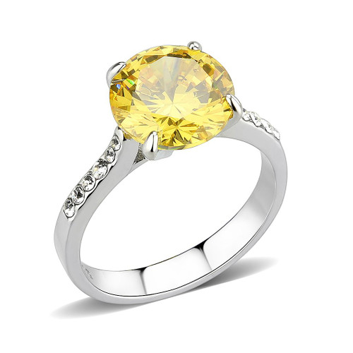 Round Cut Yellow Topaz and Cubic Zirconia Cocktail Ring Women's