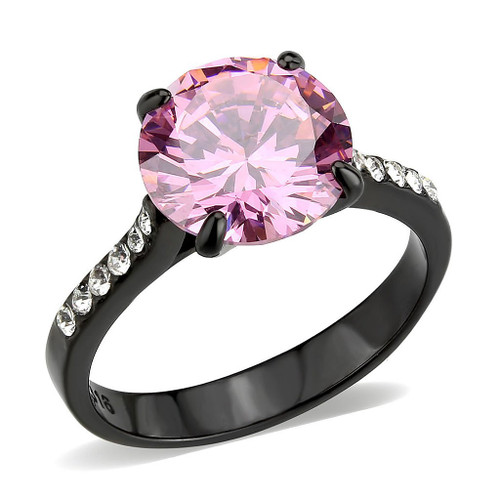 Round Cut Rose Pink Cubic Zirconia Cobalt Black Plated Cocktail Ring