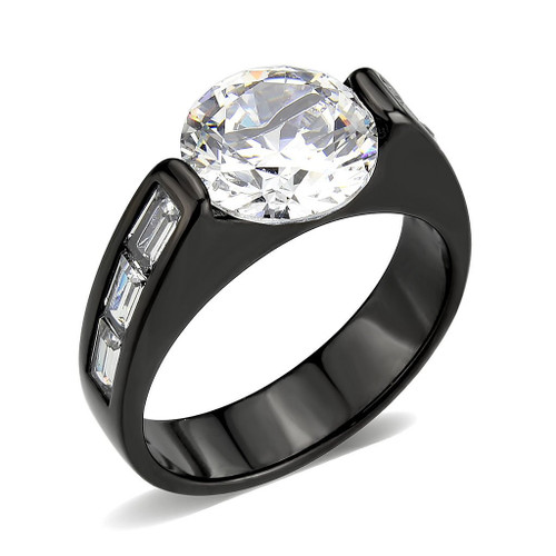 Round Cubic Zirconia Black Ring with Baguette Accents