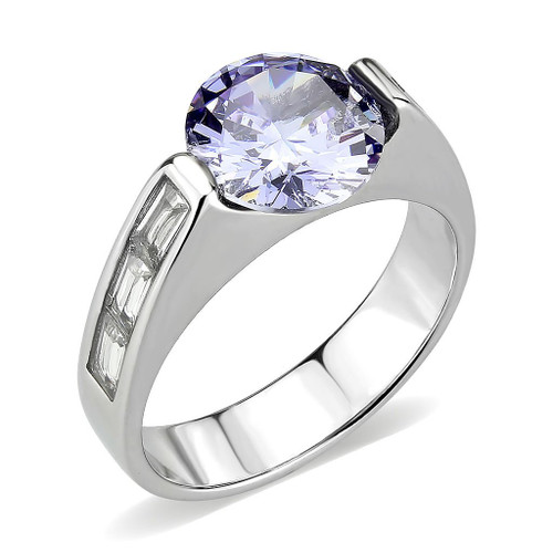 Round Simulated Light Amethyst and Cubic Zirconia Women's Ring