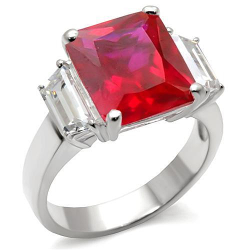 3-Stone 925 Sterling Silver Ring with Synthetic Garnet in Ruby