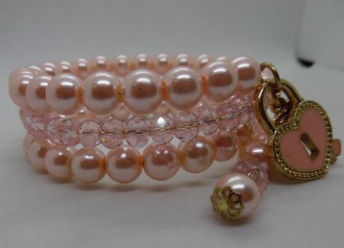 Pink Pearl Bead Memory Wrap Bracelet with Heart Lock Charm