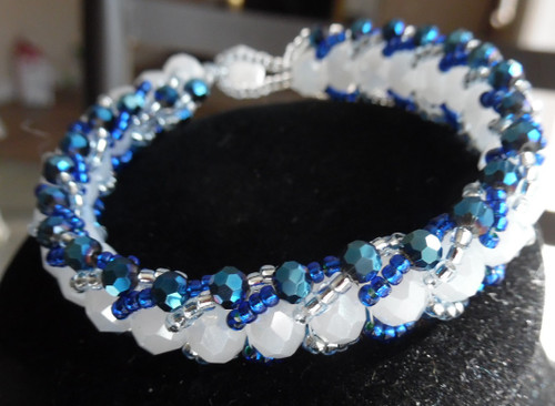 Women's White and Blue Crystal Bracelet