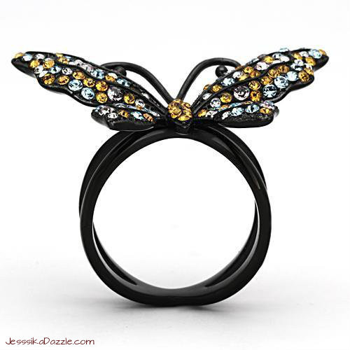 Women's Black Crystal Butterfly Ring