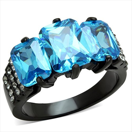 2.5 ct 3 Stone Ring Blue Cubic Zirconia Stainless Steel