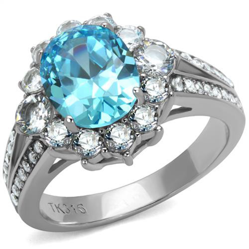 Lab Created Aquamarine Stainless Steel Halo Ring