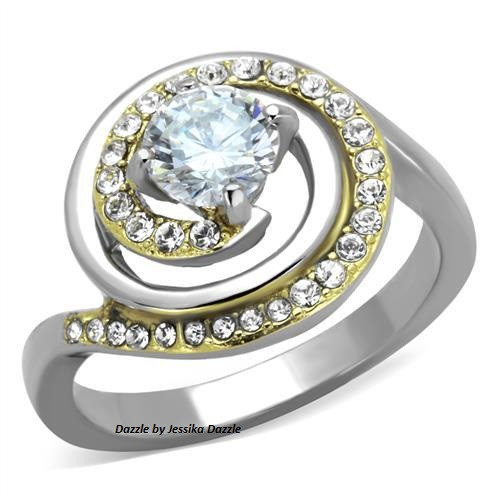 Ladies Stainless Steel two tone CZ Ring
