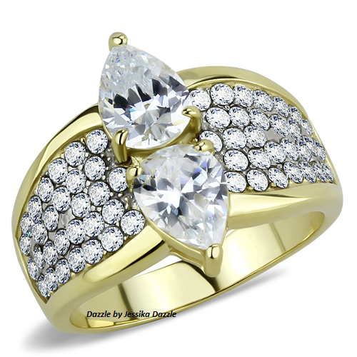 Made of solid stainless steel and finished in high quality 14k gold ion plating (mirror polished) and a prong setting. This ring features Two (8mm x 6mm) Pear cut center stones alongside 60 (1.5mm) round cut stones in a pave setting.