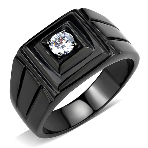 Men's 1ct  Simulated Diamond Stainless Steel Black Ring