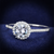 1.75 TCW Round Cubic Zirconia Halo Engagement Ring in Rhodium over Sterling Silver