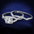 2-Piece Crossover Split Shank Halo CZ Wedding Set Sterling Silver