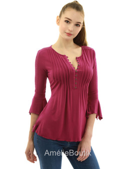 Henley Lace Inset 3/4 Bell Sleeve Blouse
