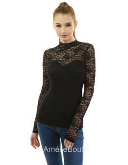 Lace Mock Neck Inset Sweetheart Blouse