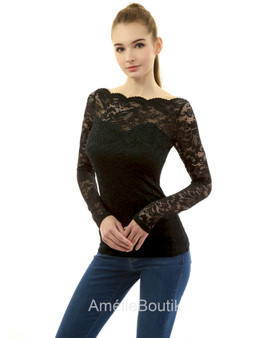 Boatneck Sweetheart Inset Floral Lace Blouse